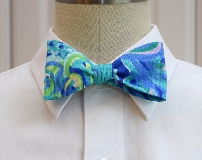 Men's Bow Tie, Lilly's Lagoon, sea blue, yellow lilac,  groomsmen gift, wedding bow tie, groom bow tie, prom bow tie, Carolina Cup bow tie