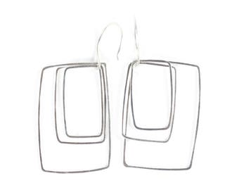 Concentric Silver Square Earrings