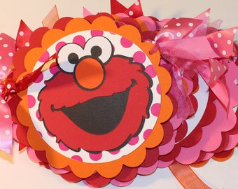 ELMO Girly Birthday Banner - Hot Pink, Red, Orange