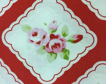 Framed Rosebud fabric in Red from the Rambling Rose collection by Tanya Whelan