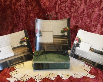 """Set of 3 1950's Funeral Home Casket Company Promotional 8"""" by 10"""" Cards"""