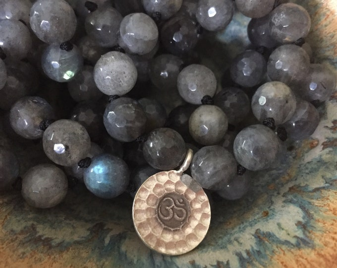 Labradorite + Thai (Sterling) Silver Om Mala | 108 Bead | Handknotted | Spiritual Junkies | Yoga + Meditation