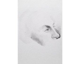 Head - 5.5x8, graphite/wash on paper