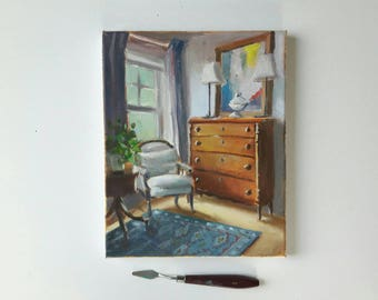 original oil chair painting, interior painting, small painting, small art, 9x12 painting, acrylics on canvas, small wall art, floral