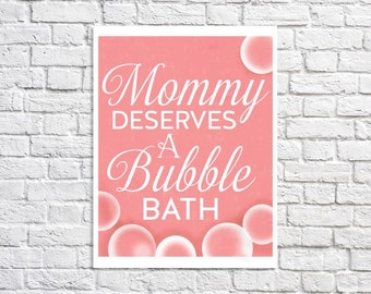 Art Print For Moms Bubble Bath Art Print Bathroom Art Typographic Print Christmas Gift For Mom Women Bathroom Decor Coral Bathroom Wall Sign