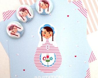 invitation birthday girl - Russian doll / matryoshka + badge