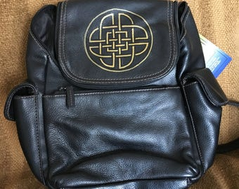 Genuine Leather Backpack, Reimagined with Custom Celtic Knotwork, Black w/gold artwork by Wes Connell