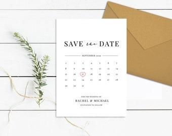 Calendar Save the Date Template | Calendar Invitation Printable | Unique Save the Date Invite | Save Our Date Wedding Calendar Download PDF