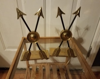 Vintage Double Arrow Brass Book Ends