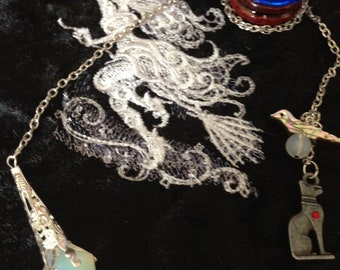 Divining Pendulum, Dowsing Pendulum, Goddess Bastet and Opal Pendulum  Blessed During Eclipse, ON SALE
