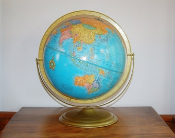 Vintage Cram's Imperial World Globe, Retro 12 Inch Student Globe Wedding Decor Travel Brass Base Raised Relief Topography Library Study Desk