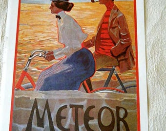 Vintage Bicycle Poster 1900s Meteor Bicycles/  Durkopp  Poster Size Book Plate