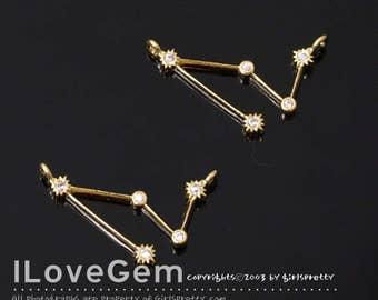 12-CO1898-GO 1pc of Capricorn, Gold, Constellation Necklace, Zodiac Sign Jewelry, Zodiac Pendant