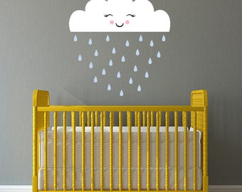 Cloud with Raindrops Decal Set - Nursery Decor - Smiling Cloud Wall Art