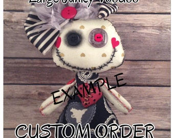 MADE-TO-ORDER Custom Voodoo Doll, Junky Voodoo Doll, Goth Art Doll, Large Doll, Button Eye Doll, Voodoo Doll, Goth Plushie, Witch Doll
