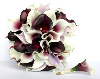 Purple Calla Lily Wedding Bouquet , Dark Plum Purple , Piscasso , Lavender and White , Wedding Bouquet