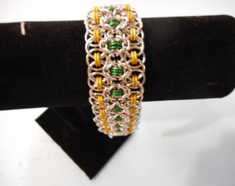 Green ,Gold and silver Helm and Byzantine Aluminum Bracelet