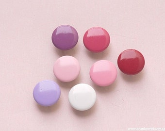 50 sets, Purple and Pink Shade (7 colors) Capped Prong Snap Button, Size 16L (10 mm)