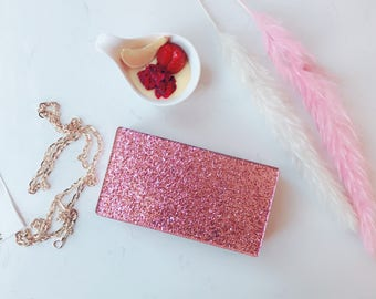 Pink Glitter Acrylic Box Clutch Bag