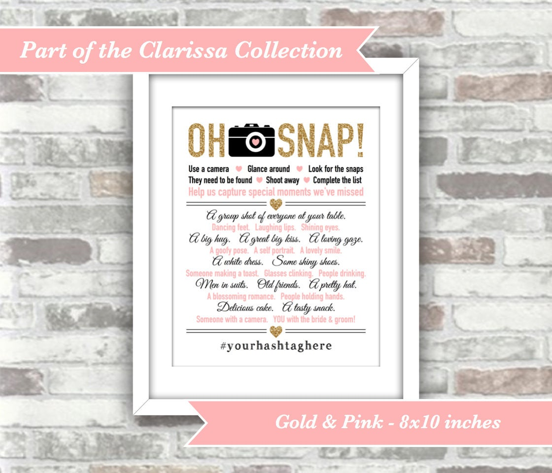 Printable digital files clarissa collection oh snap wedding i printable digital files clarissa collection oh snap wedding i spy game sign personalised personalized hashtag gold pink wedding decor junglespirit Image collections