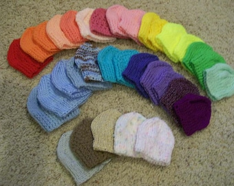 48) Knit Hats  15 Inch - 18 Inch Dolls  Buttons   Flowers   Plain Knit   American Girl  Bitty Baby  Cabbage Patch