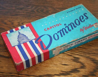 Vintage Capitol Dominoes by Halsam ,  Double Nine Dominos , Set # 930 , Vintage Domino Set
