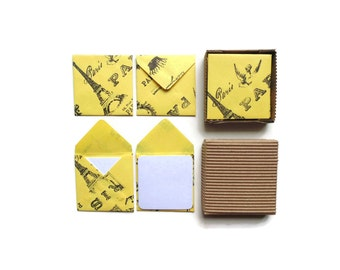 Paris Stamps on Yellow Envelopes Cute Small Stationery Set