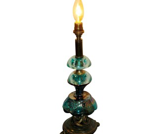 Reclaimed Carnival Candle Lamp, Blue Glass