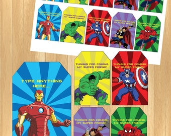 INSTANT DOWNLOAD - EDITABLE Avengers Thank You Tag