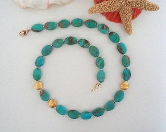Turquoise & gold, gemstone necklace