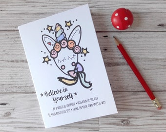 Unicorn pocket notebook, believe in yourself mini note book, magical blank journal, small sketchbook, Christmas stocking filler