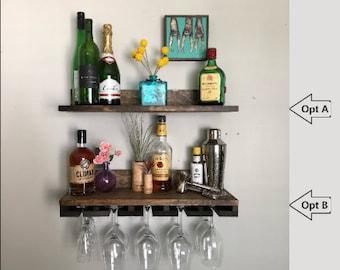 NO LIP Shelves: Rustic Wood Wine Rack | Shelf & Stemware Glass Holder Organizer Unique Picture Ledge