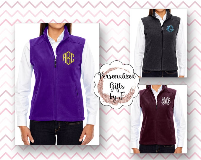 Monogrammed Fleece Vest, Embroidered Monogram Vest, Monogrammed Gift, Personalized Fleece Vest, Womens fleece vest
