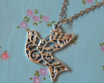 Peace Dove Flying High Antique Plate Pendant Necklace
