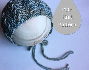 PDF Knit Pattern #0020|The Cameron Knit Bonnet|Newborn Photography Prop|PDF Pattern|Tutorial|Bonnet|Beginner|Easy|Instruction|DIY|Project