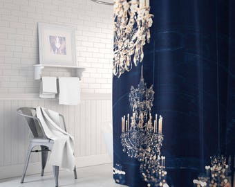 white and navy shower curtain. Chandelier Shower Curtain  Gold Navy And Gold Decor Bathroom Etsy