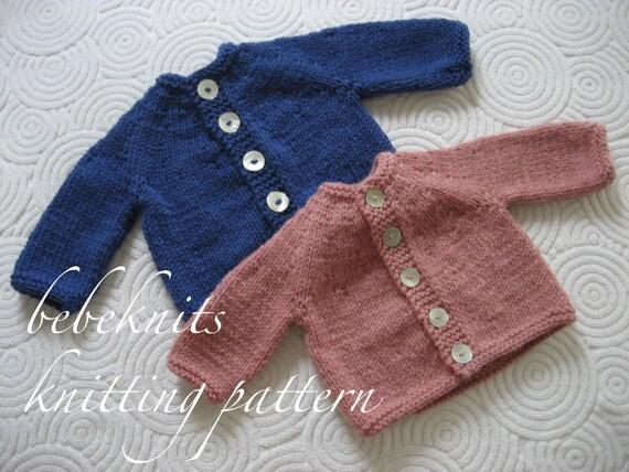 Bebeknits Simple Round Yoke Baby Cardigan Knitting Pattern From