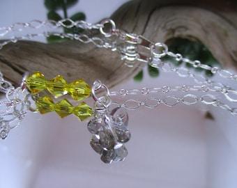Ankle bracelet, Summer ankle bracelet, Swarovksi beads, Summer jewelry, Butterfly jewelry, Handmade