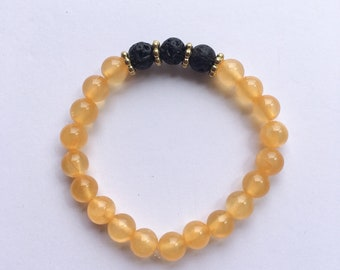 Dyed Yellow Jade Lava Rock Essential Oil Diffuser Bracelet