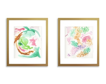 Set of two nursery art, Abstract nursery watercolor, abstract nursery print, set of 2, nursery wall art, pink, gold, green, girl nursery art
