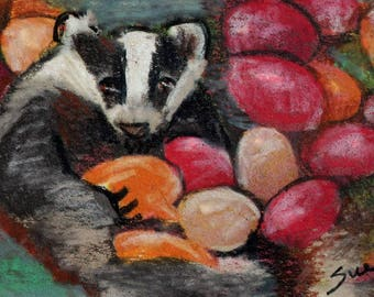original art  aceo drawing badger in jelly beans Easter
