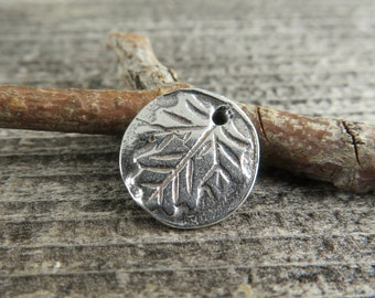 Rustic Leaf - Artisan Sterling Silver Disk Charms - One Piece - LF7