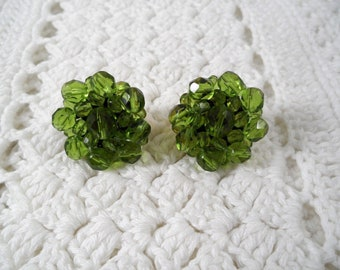 Joan Rivers Olive Green Clip On Cluster Style Earrings