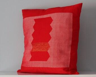 Hand woven copper block zig zag pillow