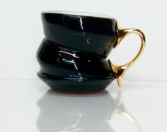 black spiral cappuccino mug with gold