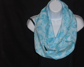 Sky Blue with Floral Print Infinity Scarf