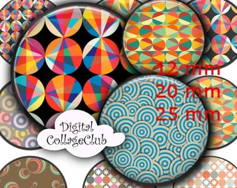 Retro Circles Digital Collage Sheet Digital Images for Pendants Bottle Cap Images for Jewelry Making, 12 mm, 20 mm Download
