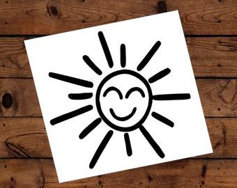 Sun Decal - Glitter Sun - Sun Sticker - Sunshine - Laptop Decal - Cell Phone Decal - Laptop Sticker - Car Decal - Tumbler Decal