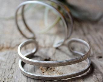 Silver Adjustable Narrow Cuff Bracelet
