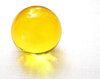 "Huge Glass Ball 39mm 1 1/2"" Large Yellow Marble Big Glass Marble Vintage Marble Colorful Crystal Ball Sphere Collectors Marble + Stand"
